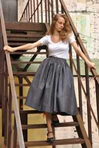 Серая, пышная юбка из 50-х